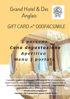Giftcard Hotel Des Anglais,  stay and restaurant in Sanremo